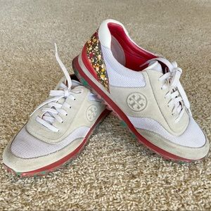 Tory Burch White Festival Sawtooth Logo Sneakers
